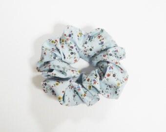 Large Floral Blue Hair Scrunchie Cotton Nature Grunge 90s Flowers Ties Bun Wraps Elastics Girl Gang Femme Accessory Cute Vintage Hippie Gift