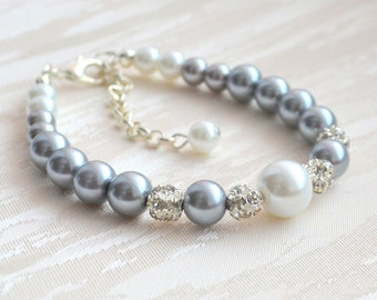 Pearl Bracelet Grey Bracelet Grey Bridesmaid Bracelet Grey White Bracelet Wedding Jewelry Bridesmaid Gift Grey Bridesmaid Jewelry