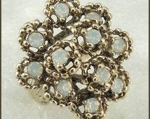 Vintage 18 KT HGE Pinfire Faux Opal Cluster Ring