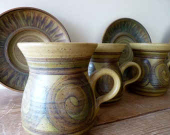 Seventies Studio Pottery handpainted earthenware coffee cup and saucer Alvingham Pru Green (3 available)