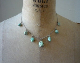 Vintage Navajo Green Turquoise Nugget Sterling Silver Chain Necklace
