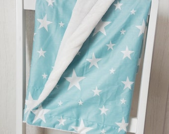 Baby blanket Playmat blankie mint White Star Kuschelfleece
