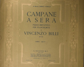 "1916 Italian Sheet Music, ""Campane A Sera"" By Vincenzo Billi"
