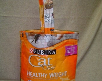 Recycled Cat Food Bag made into Tote Bag