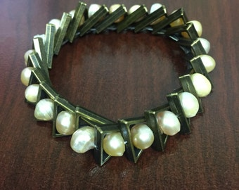 Bronze and pearl bracelet