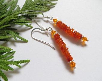 Carnelian earrings, Swarovski Crystal earrings, Sterling Silver earrings, Swarovski earrings, Semi precious gemstone earrings, Orange Stone