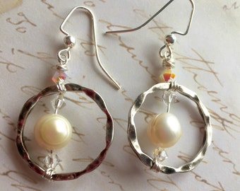 Wire wrapped artisan earrings with fresh water pearls & Swarovski crystals.
