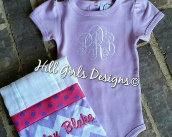 Monogrammed lavender onesie and matching burp cloth set