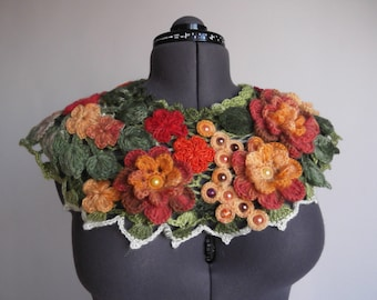 Crochet Flowers Women Scarf  Red Orange Yellow Flowers and green leaves