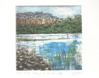 Fishing on the River Otter, Drypoint & Monoprint
