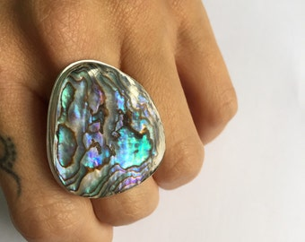 Abalone Ring Sterling Silver Stampes Mermaid Attire