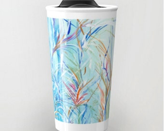 Blue Rain Travel Mug (Original Watercolor) Coffee Mug, Coffee Cup, Abstract Florals Watercolor, Cup, Art Lover Gift, Travel Mug,