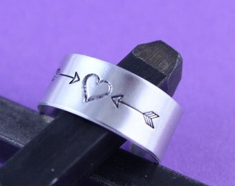 SALE - Arrow and Heart Ring - Hand Stamped Adjustable Initials Ring - Handstamped Ring - Valentine's Day