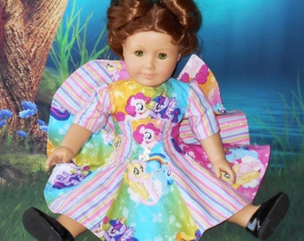 """Handmade for 18"""" American Girl Doll MY LITTLE PONY Sparkly Dress with Disney World Metal Charm Pinks Blues Purples Yellows Multi Colored"""