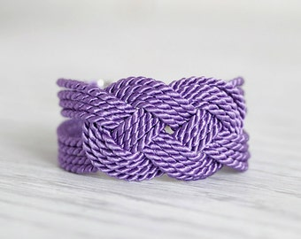 Purple Bracelet, Knot Bracelet, Purple Cord Bracelet, Rope Bracelet, Sailor Knot Bracelet, Love Knot, Nautical bracelet,Nautical Knot,Purple