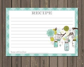 Bridal Shower Recipe Card, Mason Jar Recipe Card, Wedding Shower recipe card, Instant Download
