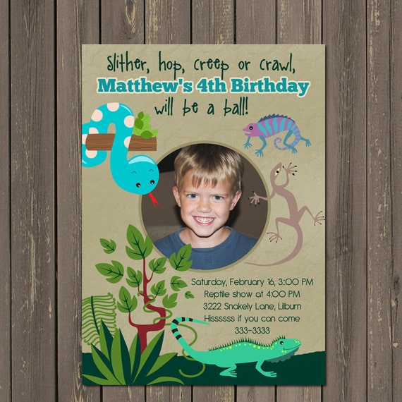 Product Search Boy BirthdaySnakes – Reptile Invitations Birthday