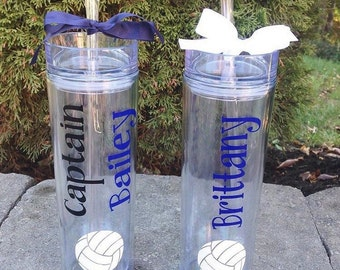 Volleyball Player Skinny Tumbler Water Bottle - Personalized Gift  16oz BPA Free Double Insulated