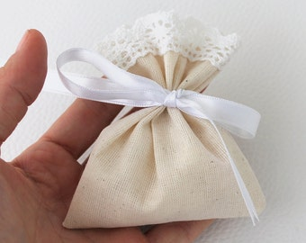 Wedding Favor Bags, Natural Linen, candy bags, set of 100, eco friendly