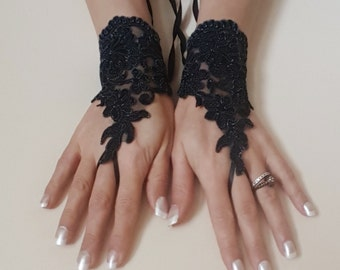 Melange Black Wedding gloves bridal gloves lace gloves fingerless gloves black gloves french lace gloves free ship
