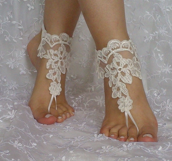 Free ship bridal lace barefoot sandal wedding prom party lolita ivory