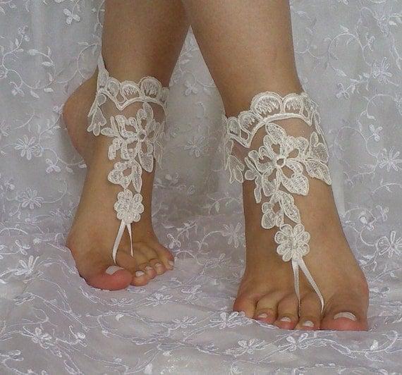 Free ship bridal lace barefoot sandal wedding prom party lolita ivory