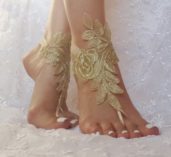 Gold beach sandals barefoot lace  free ship bridal  burlesque wedding shoe sexy bellydance show party