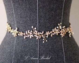 Bridal Sash Belt , Wedding Sash Belt , golden Crystal Rhinestone Sash Belt , pearl Wedding Sash , Bridal Belt , Bridal Sash