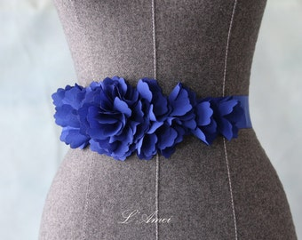 Romantic Handmade Flower Wedding Sash Bridal Belt with Sapphire blue Ribbon