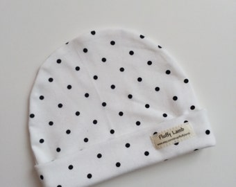 White with Black Polka Dot  100% Cotton Baby Girl Hat