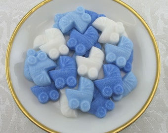 36 Lt Blue, Dk Blue & White Mini Baby Buggy Shaped Sugar Cubes for Baby Shower, Party Favor