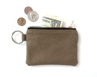 Canvas Keychain Coin Purse Wallet Zipper Pouch Tan