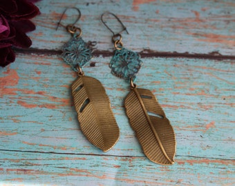 Handmade Turquoise and Feather Earrings