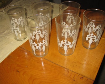 6 vtg Mid Century Drinking Glasses with White Deco fronts of large Candles/ Christmas Barware  free ship
