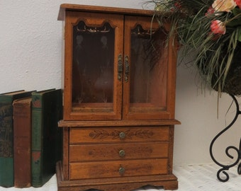 Large Wooden Jewelry Box With Engraved Doors.