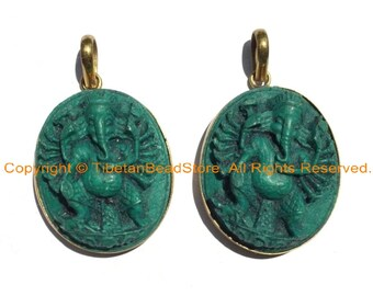 2 PENDANTS Large 16-Arms Green Ganesha Pendants Veera Ganesh with 16 Arms Ethnic Nepal Tibetan Ganesa Ganesh Pendants- WM3688-2