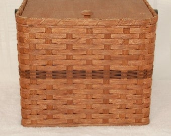 Handcrafted Storage Cube Basket with Wooden Lid