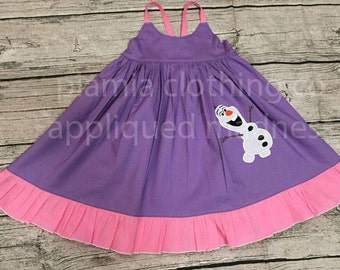 Disney Inspired Appliqued Olaf Snowman Frozen Hummingbird Style Dress sizes 1-12