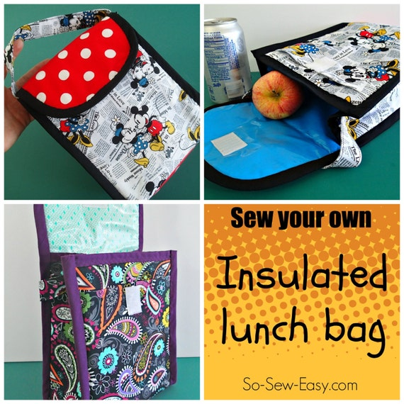 Insulated lunch bag pdf sewing pattern