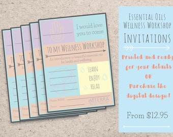 Printed or Printable Doterra Essential Oils Workshop Invitations - Pastel Workshop/Class Invitation - Customisable set of 10