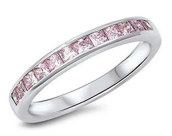 Channel set pink princess cz band ring. 6 two-  available