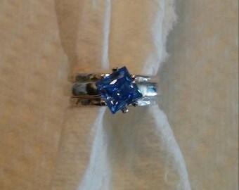 Beautiful Blue Stack Ring Set