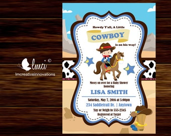 Cowboy Baby Shower Invitation, Printable Cowboy Invitation - Digital File