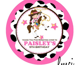 Cowgirl Birthday Party Favor Tags