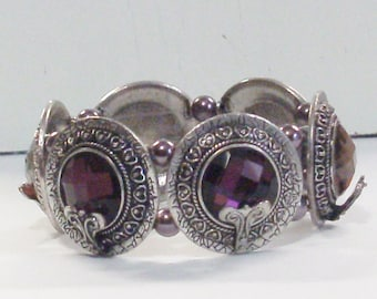 Handmade Beaded Stretch Cuff Bracelet in Purple and Silver