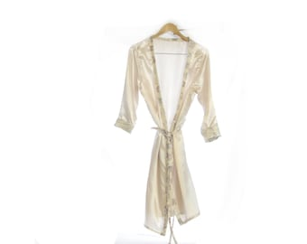 Unmentionables~ Satin Dressing Gown ~ Women's dressing gown bath robe cover all sleepwear lingerie white satin lingerie satin bath robe