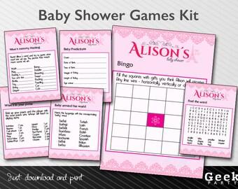 Paris Theme Baby Shower Games Kit - Printable