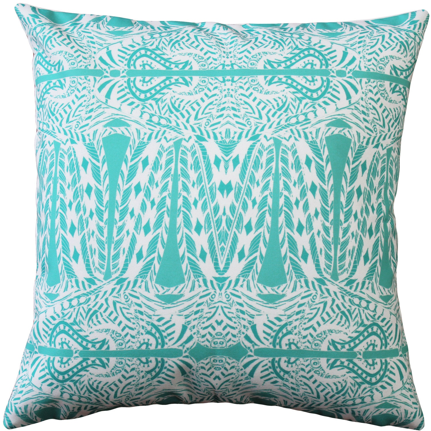 Decorative Pillows In Turquoise : Partridge Stamp Turquoise Throw Pillow 20x20