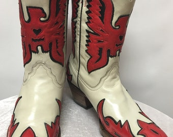 Corral Boots  Bone/Black/Red Eagle Boots in size 7M