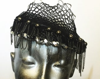 Metal mesh and Chain Fringe Crown